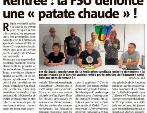 La FSU du Var s'exprime dans la presse
