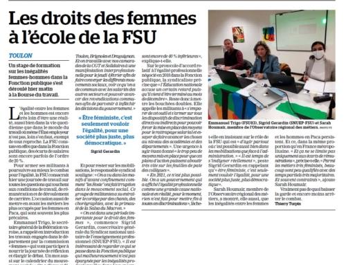 """Le stage FSU du Var sur """"le travail des femmes"""" dans la presse"""