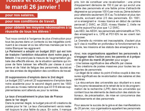 Tract unitaire varois pour la grève du 26 janvier dans l'Education